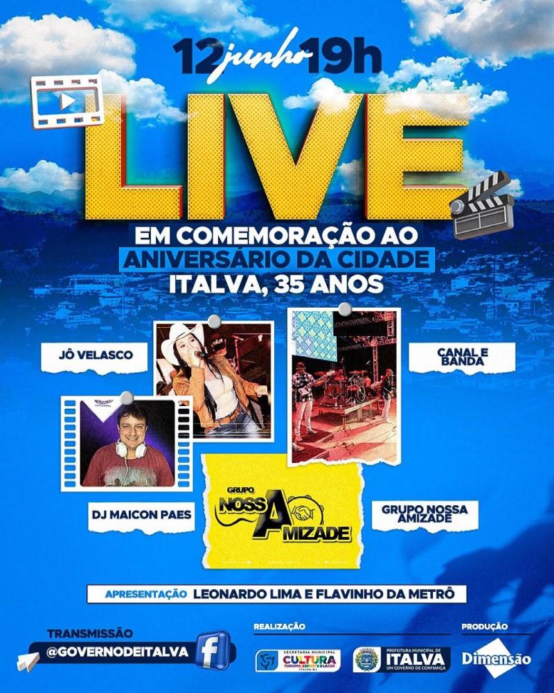 A prefeitura de Italva realizará neste sábado dia 12 de Junho, o dia do aniversário de nossa querida cidade, uma live pra lá de especial.