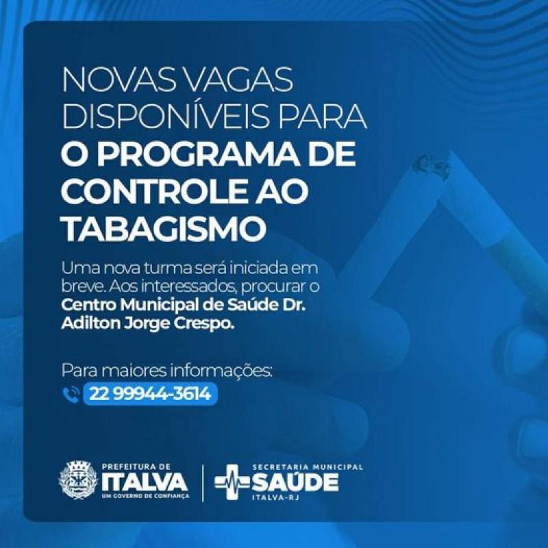 Estão abertas novas vagas para o programa de controle ao tabagismo. Os interessados devem procurar o Centro Municipal de Saúde Dr. Adilton Jorge Crespo.
